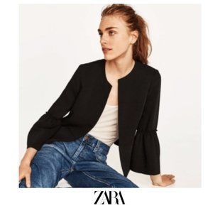 Zara | ruffle sleeve jacket